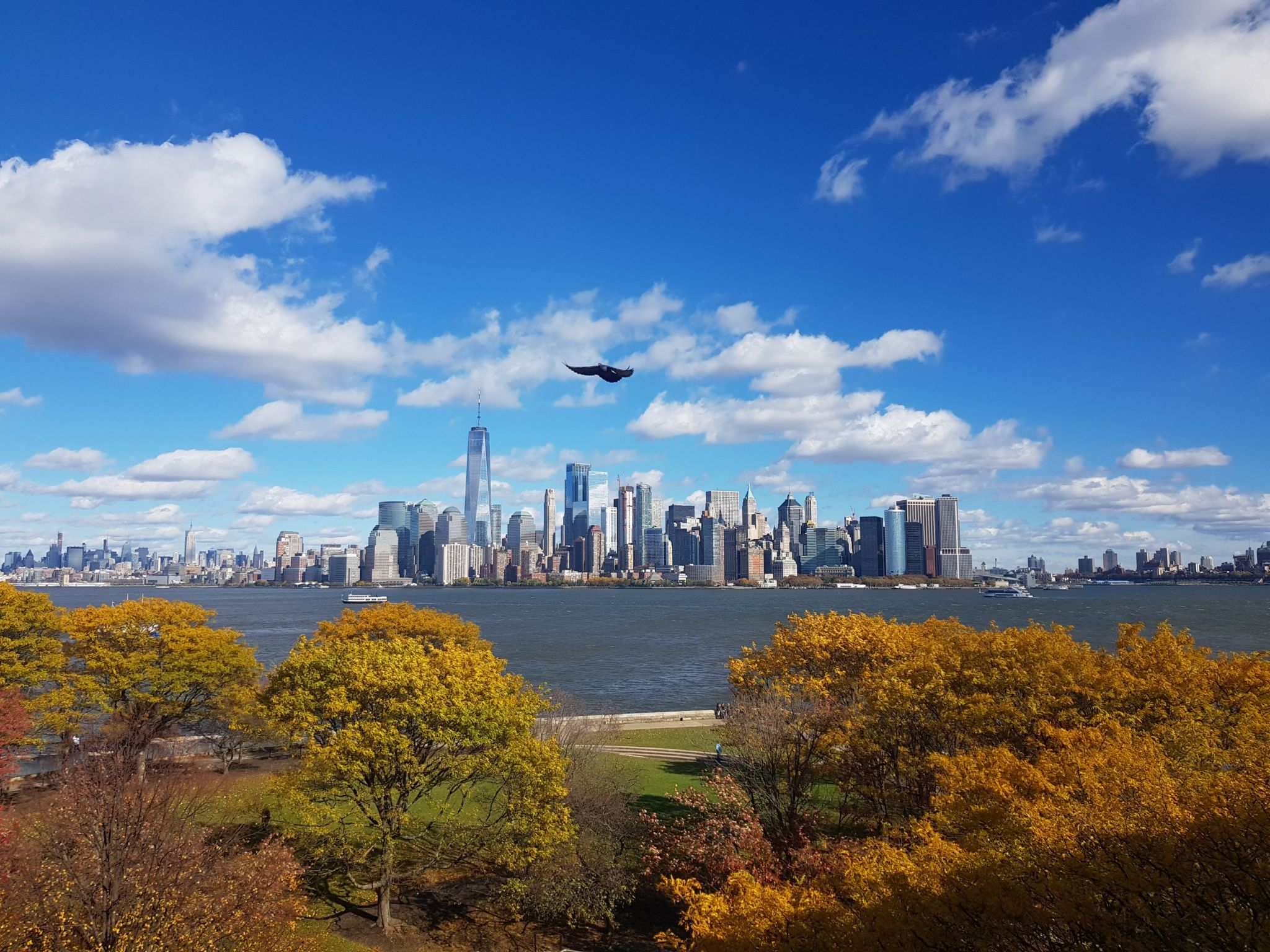 Manhattan skyline, Manhattan, Brooklyn, New Jersey, ellis island, viewpoint